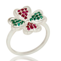 925 Sterling Silver Ruby And Emerald Gemstone Flower Cocktail Ring