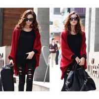 Women Batwing Cape Poncho Knit Bolero Poncho Cardigan Sweater Tops Shawl Coat TH