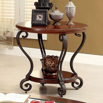 May End Table Transitional Style, Brown Cherry Finish
