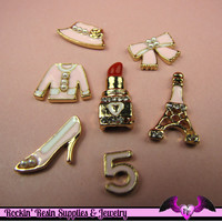 GIRLY 7pc PINK CABOCHONS Lipstick, Eiffel Tower, High Heel Shoe, Bow, Bonnet, Blouse, and Five Enamel Alloy Decoden Cell phone Decorations