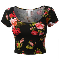 LE3NO Womens Fitted Short Sleeve Floral Print Crop Top (CLEARANCE)