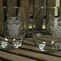2 Etched Owl Wine Tumblers