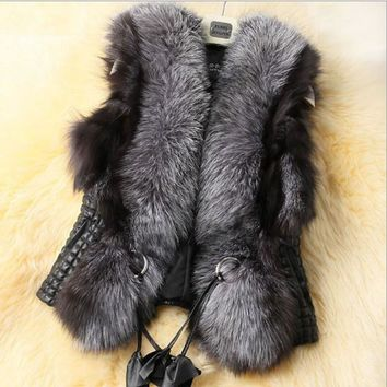2018 Winter Warm Luxury Fur Vest for Women Faux Fur Coat Vests Women's Coats Jacket High Quality Furry Coat 6XL 5XL