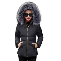 Winter Female Jacket 2017 Winter Coat Women Fake Fur Collar Warm Woman Parka Outerwear Down jacket Winter Jacket Female Coat