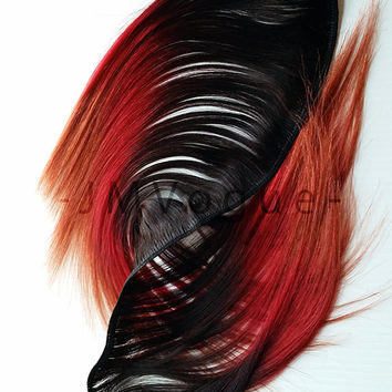 Ginger Kick #2 100% Human Hair Ombre clip Extensions crimson Red Orange Ginger Boho Chic Alternative Model Hair