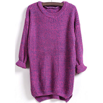 Fashion Loose long pattern knit  sweater