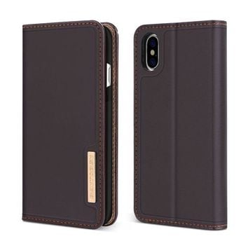 ESBON8C iPhone X Case, iPhone X Wallet Case, BENTOBEN Genuine Leather Folio Flip Magnetic Slim Kickstand Case with Credit Card Slots Cash Area, Business Protective Phone Case for iPhone X / 10 Edition, Brown