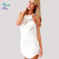 Summer Style Sexy Backless Cross Straps Halter Women Dress 2016 Bodycon Vestidos Hollow Out Crochet Lace Patchwork Beach Dresses