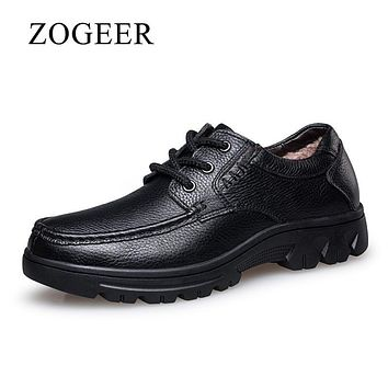 ZOGEER Plus Size 38-50 Genuine Leather Men Shoes, Black Business Formal Men's Dress Shoes, Lace Winter With Fur Oxfords For Man