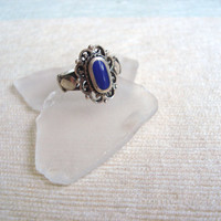 Sterling silver blue lapis antique ring, size 6
