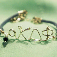 Sorority Personalized Greek Letters Adjustable Bracelet with Swarovski Crystal