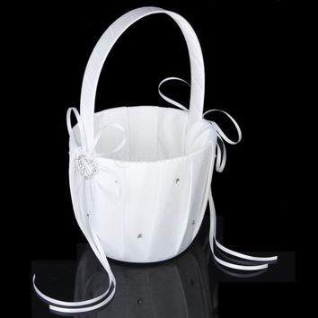 White Satin Double Heart Wedding Flower Girl Basket Crystal Rhinestone Decor = 1932607940