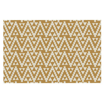 "Amanda Lane ""Geo Tribal Mustard"" Yellow Aztec Decorative Door Mat"