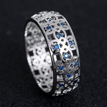 Unisex Originality Fashion Sapphire/ Emerald Floral Hollow Ring