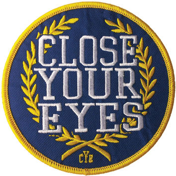 Close Your Eyes Men's Logo Embroidered Patch Blue
