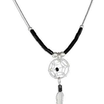 """Sterling Silver 20"""" Simulated Black Onyx Heishi Bead Dreamcatcher Necklace"""