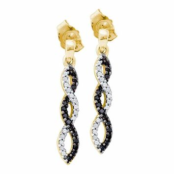 10kt Yellow Gold Women's Round Black Color Enhanced Diamond Infinity Dangle Screwback Earrings 1-6 Cttw - FREE Shipping (US/CAN)