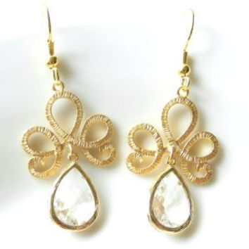 Crystal & Gold Chandelier Earrings.