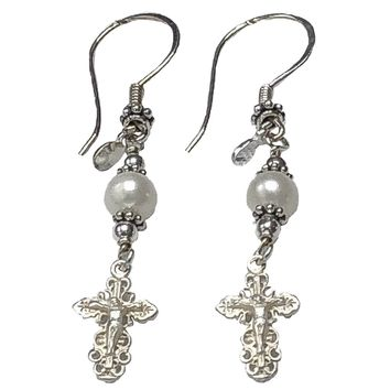 Handmade Sterling Silver Crucifix Earrings Freshwater-Cultured Pearl - New Model #2