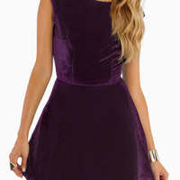 Purple Velvet Backless Skater Mini Dress
