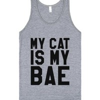My Cat Is My Bae Tank Top (ide190315)-Unisex Athletic Grey Tank