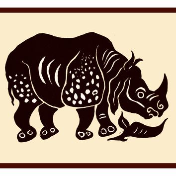 Russian Folk Art Animal Rhinoceros by Issachar Ber Ryback's Counted Cross Stitch or Counted Needlepoint Pattern