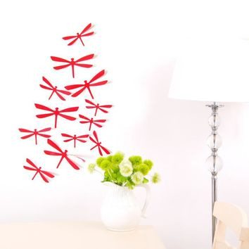3D Wall Sticker Dragonfly Shape Decoration Home Party PVC Art Decal 12pcs