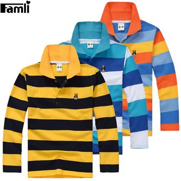 5Y-16Y Teenage Boys Polo Shirt Children Spring Autumn Fashion Striped Turn-down Cotton Long Sleeve T-shirt Tops 6 8 10 12 14 16