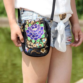 Embroidered Floral Boho Purse