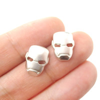 Iron Man Mask Shaped Stud Earrings in Silver | Super Heroes Themed Jewelry