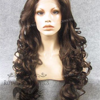 """26"""" Heat Safe Synthetic Lace Front in Curly Texture """"Calypso"""" in Medium Brown Mix"""