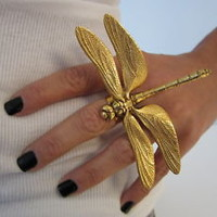 VINTAGE HAUTE COUTURE RUNWAY ART NOUVEAU STYLE DRAGONFLY RING MASSIVE!