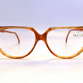 GUCCI!!! Vintage 1980s 'Gucci' tortoiseshell framed glasses with gold brow bar and double 'G' logo plate / Frame Italy / Deadstock