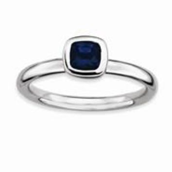 Sterling Silver Cushion Cut Created Sapphire Ring