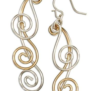 Sterling Silver And 12 Karat Gold Filled Triple Graduated Spiral Dangle Earrings
