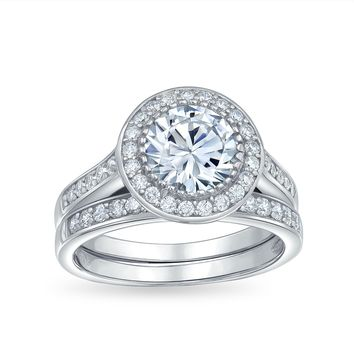 3CT Solitaire Halo AAA CZ Engagement Wedding Ring Set Sterling Silver