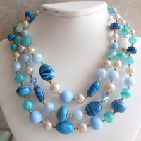 Art Glass Necklace Triple Strand Blue Bead Japan Style Vintage