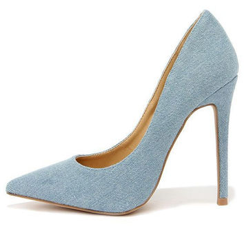 Denim Pointed Toe Heels