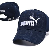 Puma Fashionable Women Men Embroidery Sports Sun Hat Baseball Cap Hat Navy Blue