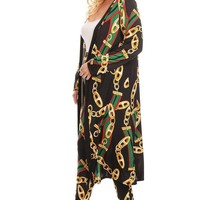 Multi chains printed jacket and pants set