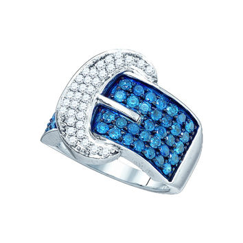 10kt White Gold Womens Round Blue Colored Diamond Belt Buckle Band Ring 1-7/8 Cttw 65664