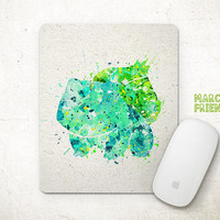 Pokemon Mouse Pad, Bulbasaur Watercolor Art, Mousepad, Office Deco, Holiday Gift, Art Print, Desk Decor, Pocket Monster Accessories