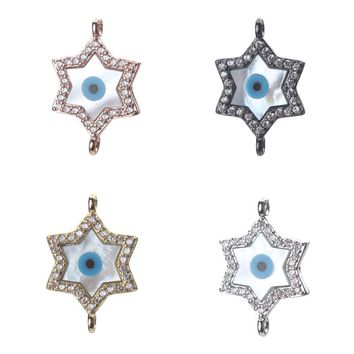 1pc 23*15mm Fashion Micro Pave Zircon Shell Evil Eye Star Charms Connectors Jewelry Accessories For Women Diy Evil Eye Bracelet