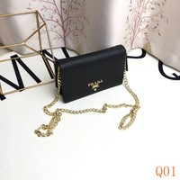 HCXX 19Aug 977 Prada Fashion Leather Chain Flap Bag Causal Baguette Bag 18-12-6cm