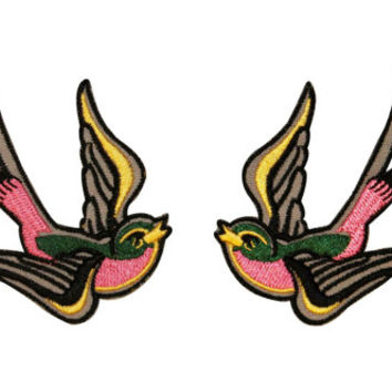 Multi Color Tattoo Sparrow Swallow Biker Embroidered Iron On Applique Patch B