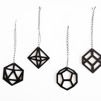 Geometric Modern Black Christmas Tree Ornaments Decorations - Laser Cut x4