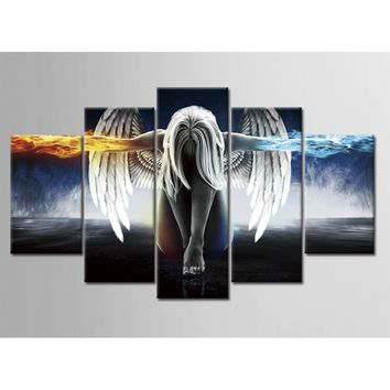 5 Pieces Printing Decorative Painting Angel Wings Oil Painting  Home Decorative Wall Art Picture Paint on Canvas Prints 17010
