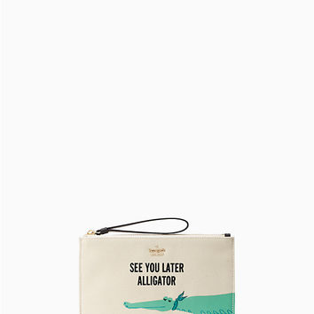 swamped alligator medium bella pouch | Kate Spade New York