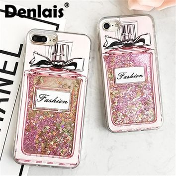 Luxury Perfume Bottle Case Quicksand Dynamic Liquid Glitter Coque Phone Case For iPhone 8 7 7Plus 6 6S Plus 6Plus Fashion Cover