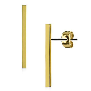 BodyJ4You Long Bar Earrings Studs Brushed Finish 20mm Stainless Steel Post Ear Stud Women Men's Goldtone